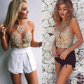 Elegant white lace crop top Summer beach backless short halter tops Sexy white party camis gauze metallic women tank top