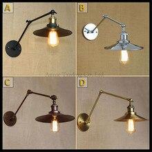 Modern double swing adjustable arm lights Black Rustic Chrome Iron plated lustre wall lamp abajur para quarto lighting fixture