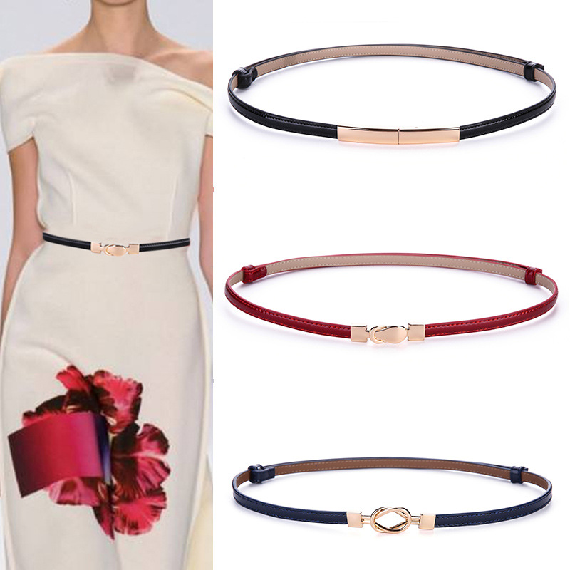 2019Free shipping Genuine Leather Decorative   Belt   Lady Lacquer High Quality Dress Accessories Womens   Belts   Gold Waist   Belt   Chain