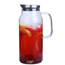 Glass Pitcher 68 ounces Water Carafe with Stainless Steel Filter Lid Water Bottle Large Diameter Carafe and Lemonade Pitcher цена