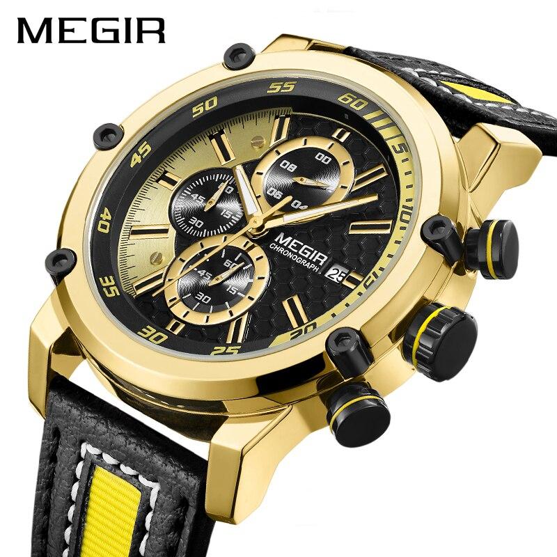 Creative MEGIR Chronographe montre homme sport De Luxe montres à quartz pour homme Horloge Armée Militaire Montres Heure Relogio Masculino