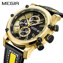 Yaratıcı MEGIR Chronograph spor erkekler izle lüks kuvars saatler erkekler saat ordu askeri saatı saat Relogio Masculino