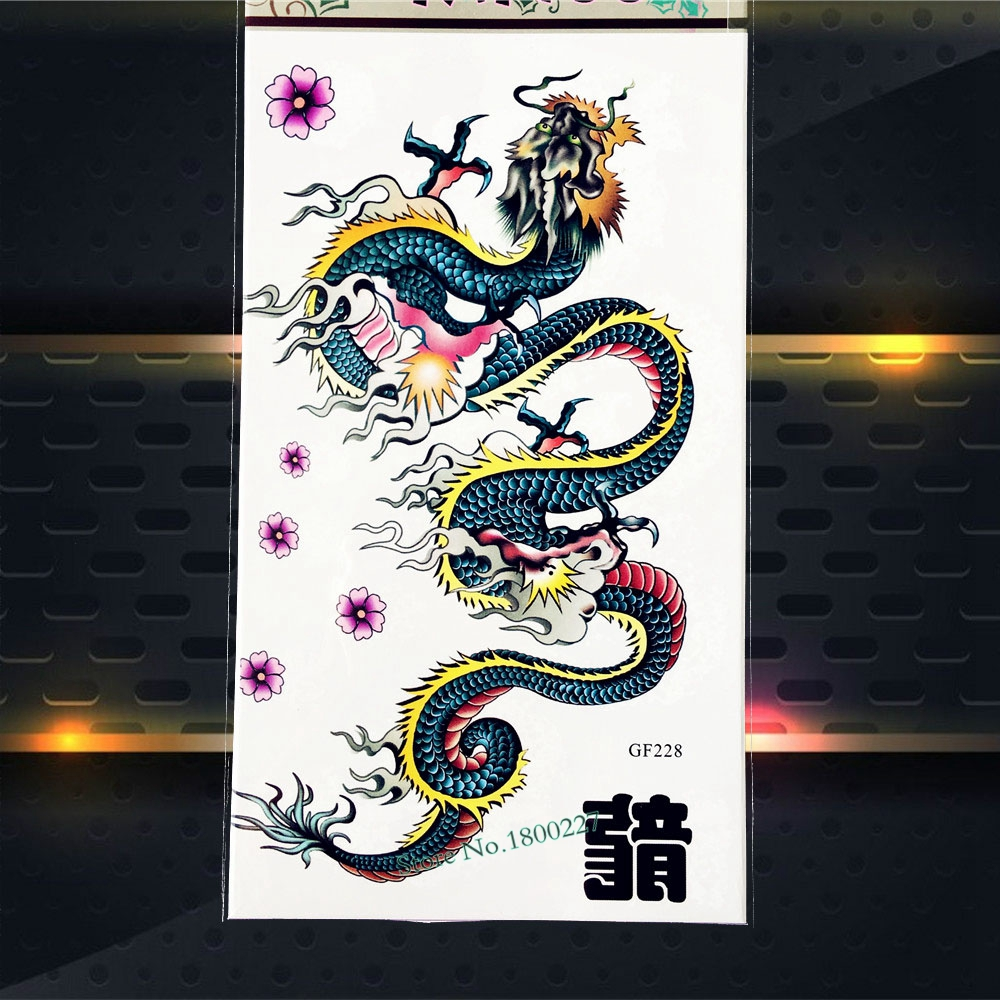 Flying Dragon Children Temporary Tattoo Kids Body Art Arm Flash Tattoo Stickers PGF228 Henna Fake Tattoo Onderarm Stickers