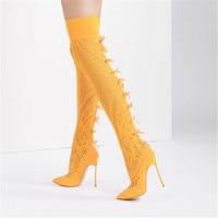 Новинка 2018, женские эластичные сапоги выше колена с кружевом, пикантные Сапоги на каблуке с острым носком, модные женские сапоги без шнуровк
