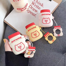 Hot Cute Cartoon Milk bottle soft silicon Wireless Earphone Charging Cover Bag for Apple AirPods 1 2 Bluetooth Box Headset case(China)