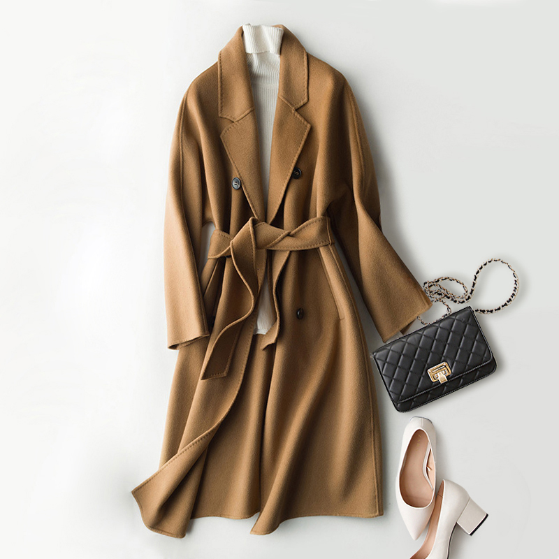 Women Blends Jack Wool Coat Women 100 Wool Classical Design Solid Double Breasted Belt 3Colors High Quality Coat England Style in Wool amp Blends from Women 39 s Clothing