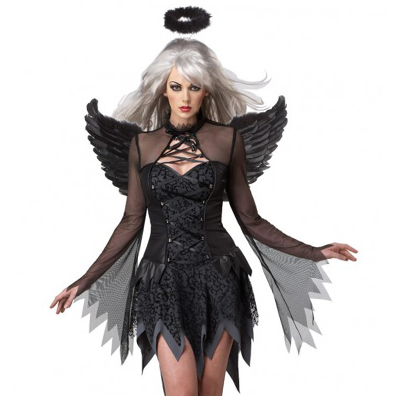 Black Devil Fallen Angel Costume Women Sexy Halloween Party Clothes Fancy Dress Adult Gothic Witch Costumes Fancy Dress Wing