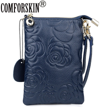 COMFORSKIN Cowhide Embossing Flower Women Day Clutches New Arrivals Bag Female Genuine Leather Messenger Bags Ladys Mobile