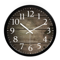 Living Room Large Wall Clock wooden pattern Wall Watch Leisure Personality Home Decor Accessory 10inch 12inch