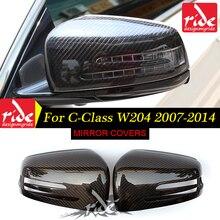 For Mercedes Benz W204 Black Rear Mirror C-Class C180 C200 C230 C250 C280 C300 C350 Carbon Fiber Rearview Cover 2007-2014
