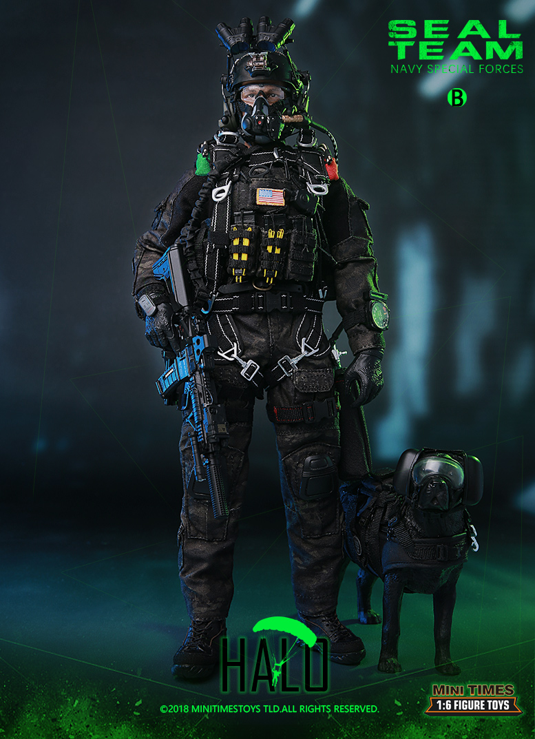 For Collection M013 1/6 Scale Full Set 12'' NAVY Special Forces US Navy SEAL Team B HALO with Dog Model for Fan Collectible Gift 1