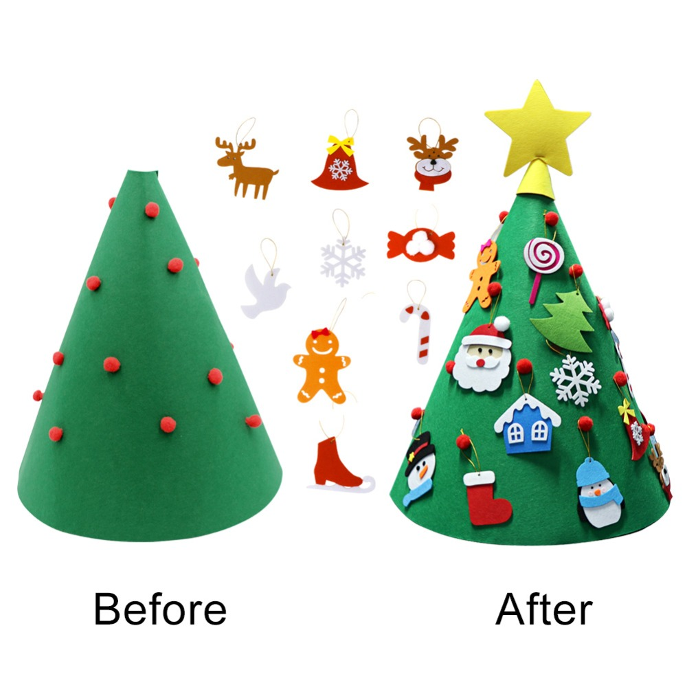 ourwarm 3d diy felt toddler christmas tree new year kids gifts toys artificial tree xmas home. Black Bedroom Furniture Sets. Home Design Ideas