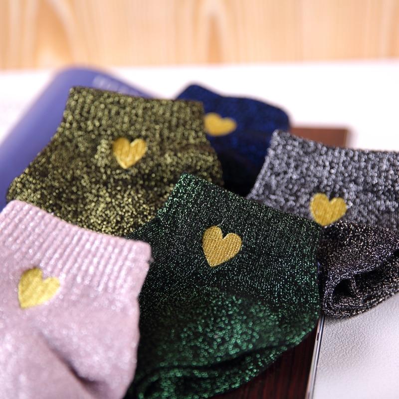 5 пар/лот, женские модные блестящие носки с вышивкой Золотого сердца и сердечками, серебряные, золотые шелковые цветные блестящие носки