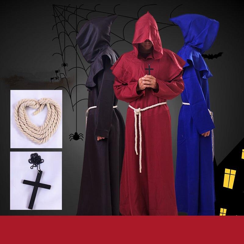 2019 Middeleeuwse Renaissance Originele Vrouwen Mannen Cosplay Kostuums Monnik Druid Comic Con Gewaden Mantel Hooded Cape Friar Priester Pak Nieuwe