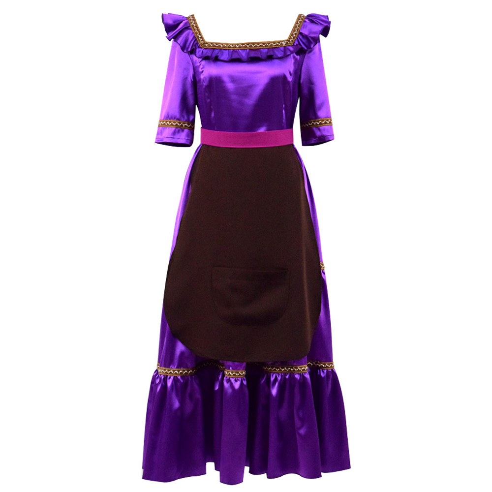Mama Imelda Cosplay Costume Dress Apron Belt Full Set Halloween Cosplay Women Purple Dress
