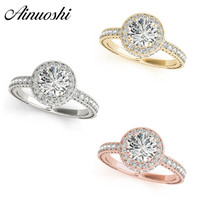 AINUOSHI Classic925 Sterling Silver White Gold Yellow Gold Rose Gold Color Round Cut 1ct Rings Women Engagement Halo Silver Ring