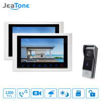 JeaTone 10'' Wired Video Door Home Phone Recording & Picture Memory Touch Button Indoor Monitor 2&1 Doorman Home Apartment Kit