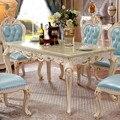 Europeu de Mármore Mesa de Jantar Em Madeira Maciça Cadeira Combinação De Tamanho Pequeno Retangular 6 Mesa de Jantar Em Madeira Maciça