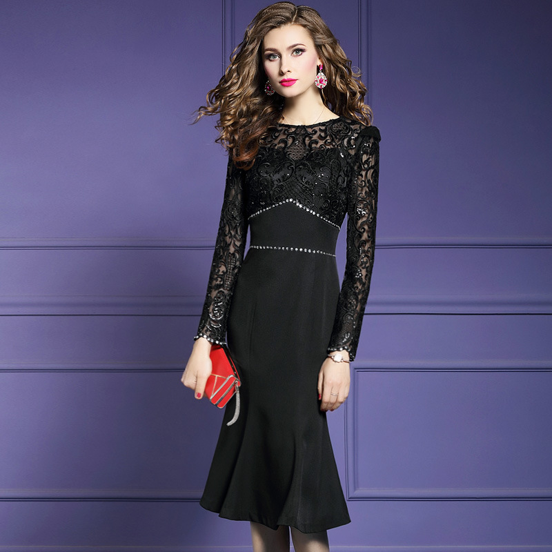 Mermaid solid dress Spring 2019 new Superior quality Full sleeves Party Dress Plus Size lady Vintage