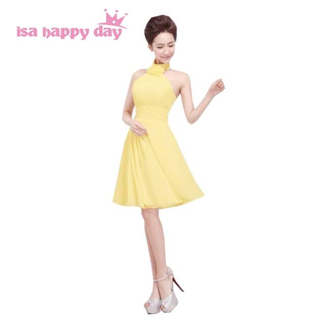 teenage short light yellow halter chiffon   bridesmaid     dress   elegant party dinner   dresses   for women for wedding under 50 H1178