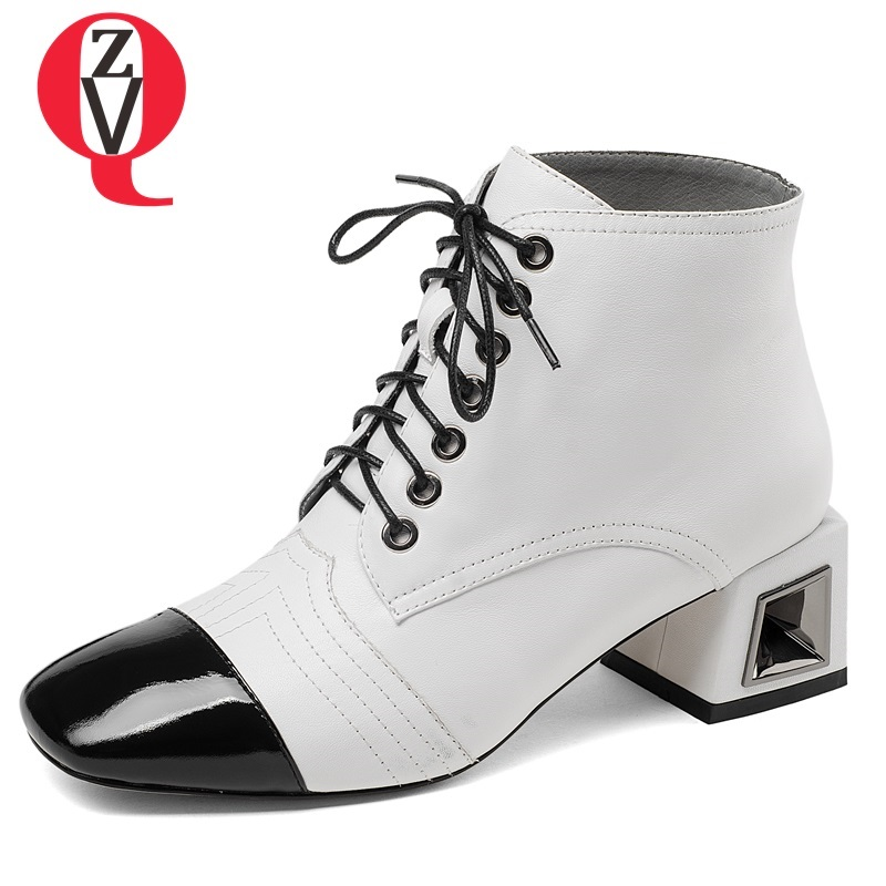 ZVQ new fashion high quality mixed colrs genuine leather black and white women shoes square toe lace-up med square heel booties mixed print square coaster