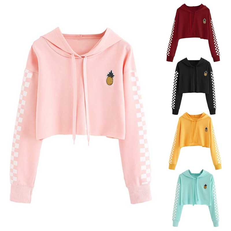 Fashion New Women's Crop Tops Sweatshirt Girls Female Casual Pineapple Embroidery Gingham Plaid Hoodies Pullover 5 Colors