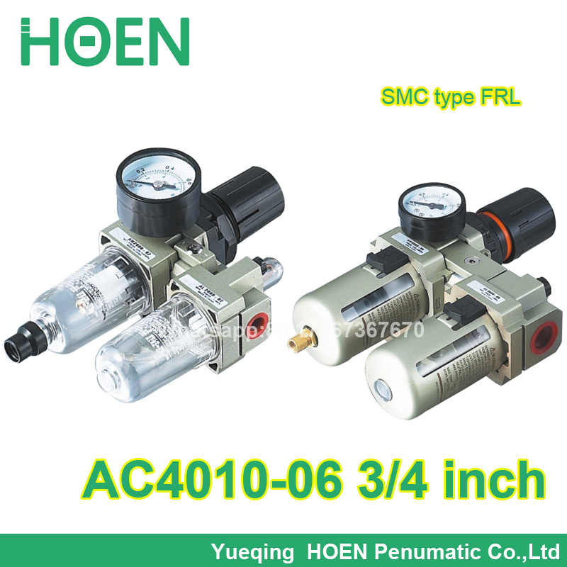 AC4010-06 3/4 port size SMC type FRL combination air filter pressure regulator and lubricator with manual drain smc filter regulator lubricator combination frl ac40 04g a new original genuine