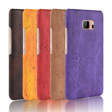 For HTC U Ultra Case Hard PC+PU Leather Retro wood grain Phone Ocean Cover Luxury Wood for 5.7