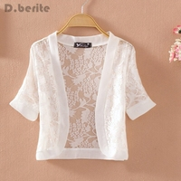 Lady Short Sleeve Lace Shrug Bolero Cape Capelet Jacket White Open Cardigan Tops QDD9061
