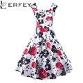 Mulheres Vestido de verão 50 s 60 s Do Vintage Floral Impressão Robe Retro Elegante da Festa Vestidos Plissados Vestidos Feminino Plus Size