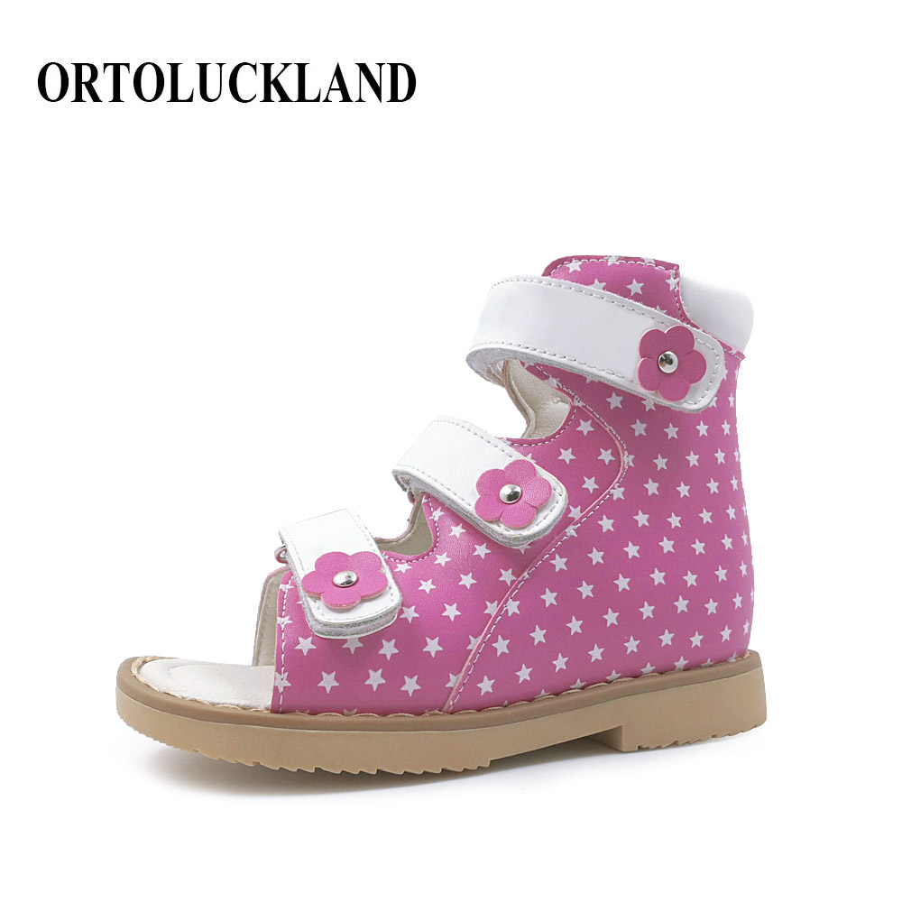 Newest  High Quality Healthy Genuine Leather Girls Orthopedic Shoes Kids Summer Sandals With Arch Support