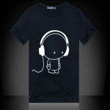 Qrxiaer Women men T shirt Print The Music Boy short Sleeve Fashion Girl Sport Black white Couple