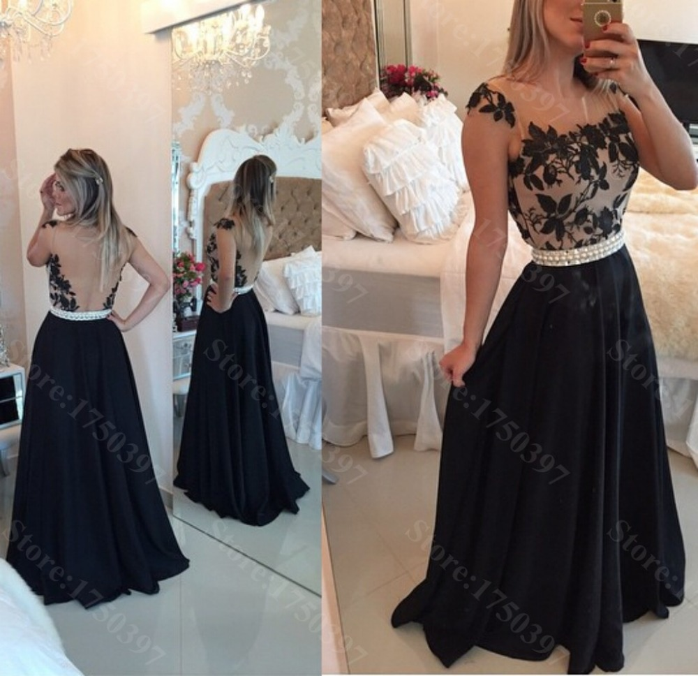 dc871c1a8702 A Line Black Evening Gown Prom Dress See Though Back Lace waist with Pearls  Appliques Formal Long Party Evening dress for women-in Evening Dresses from  ...