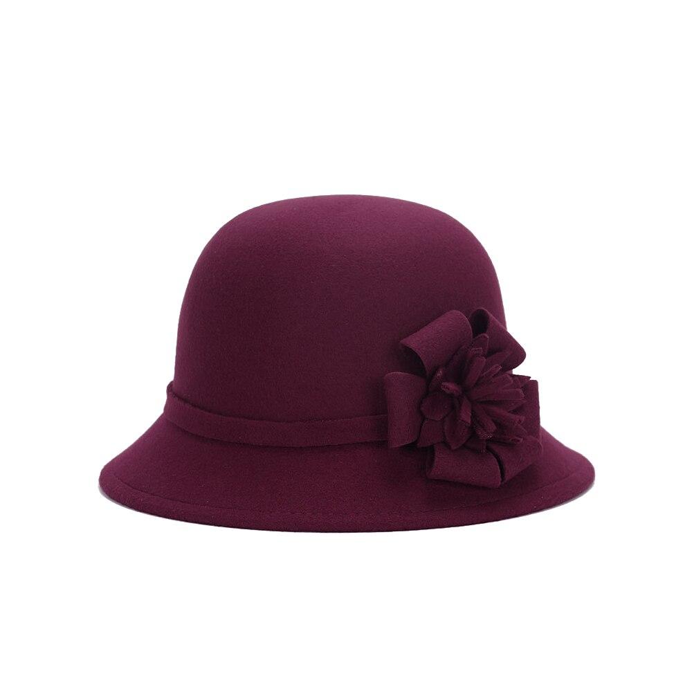 Vogue Для женщин флоппи цветы шляпа Имитация шерсти, с цветочным рисунком, на возраст от котелок шапка, сезон осень-зима; женские свадебные шляпы для принцессы держать femme Кепка с покрывалом - Цвет: wine red