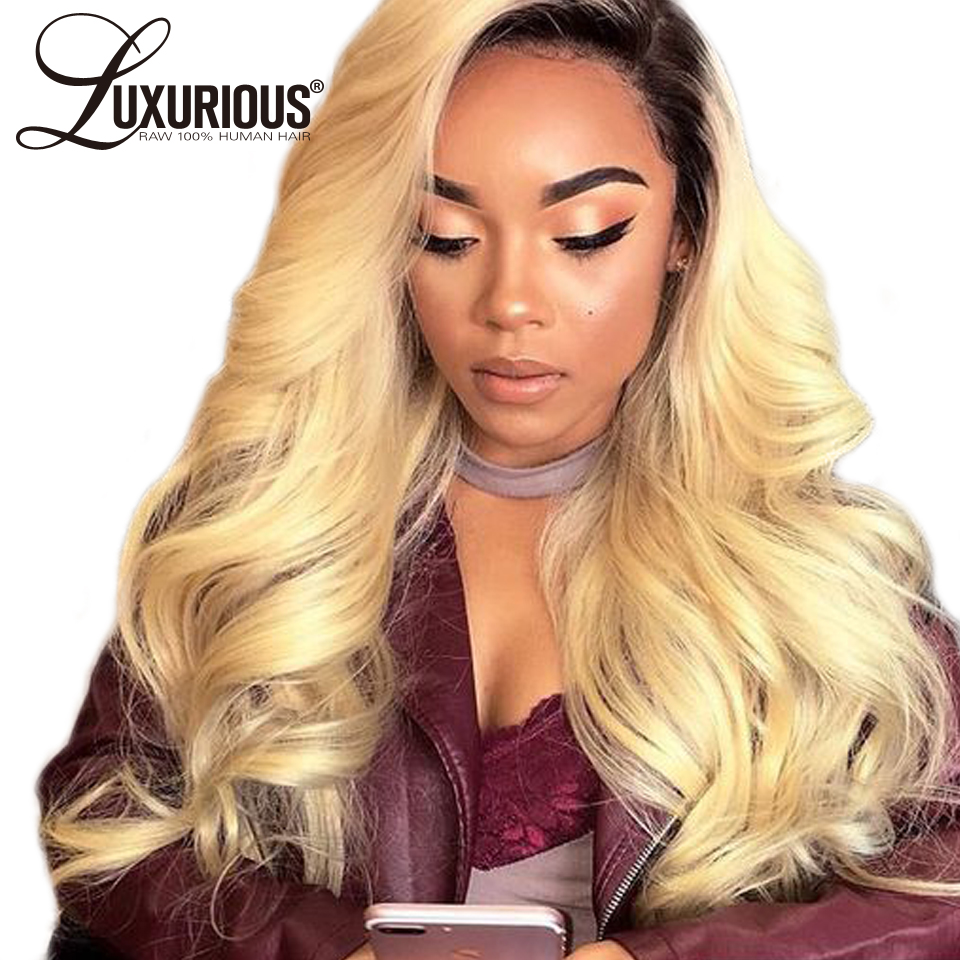 Luxurious Ombre #1B/613 Lace Front Human Hair Wigs Chinese Remy Hair Body Wave Blonde Wig With 4Inch Dark Black Roots