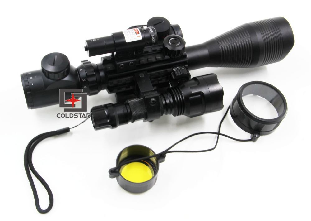 1set Hunting Compact Combo C4-12x50EG Rifle Scope w/Laser & CREE T6 LED Flashlight 5Mode C8 Torch Flash Light & T1 Red dot sight hunting riflescope combo c4 12x50eg rifle scope