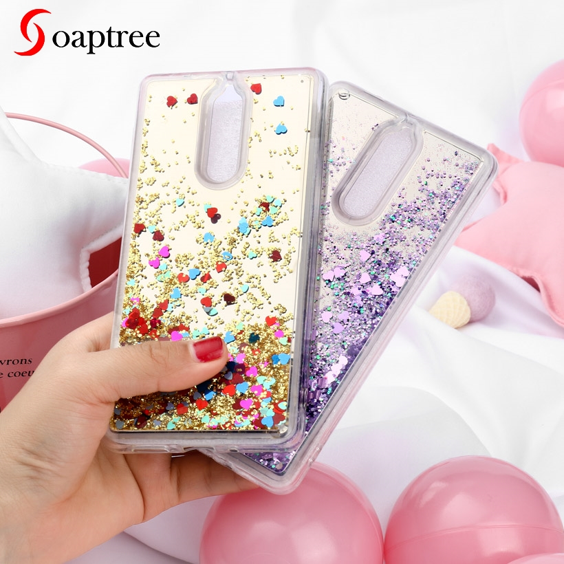 Glitter Liquid Silicone Cases for Nokia 8 Case Soft TPU Coque for Nokia8 5 3 inch Cover Phone Fundas Smart Phone Covers in Fitted Cases from Cellphones Telecommunications