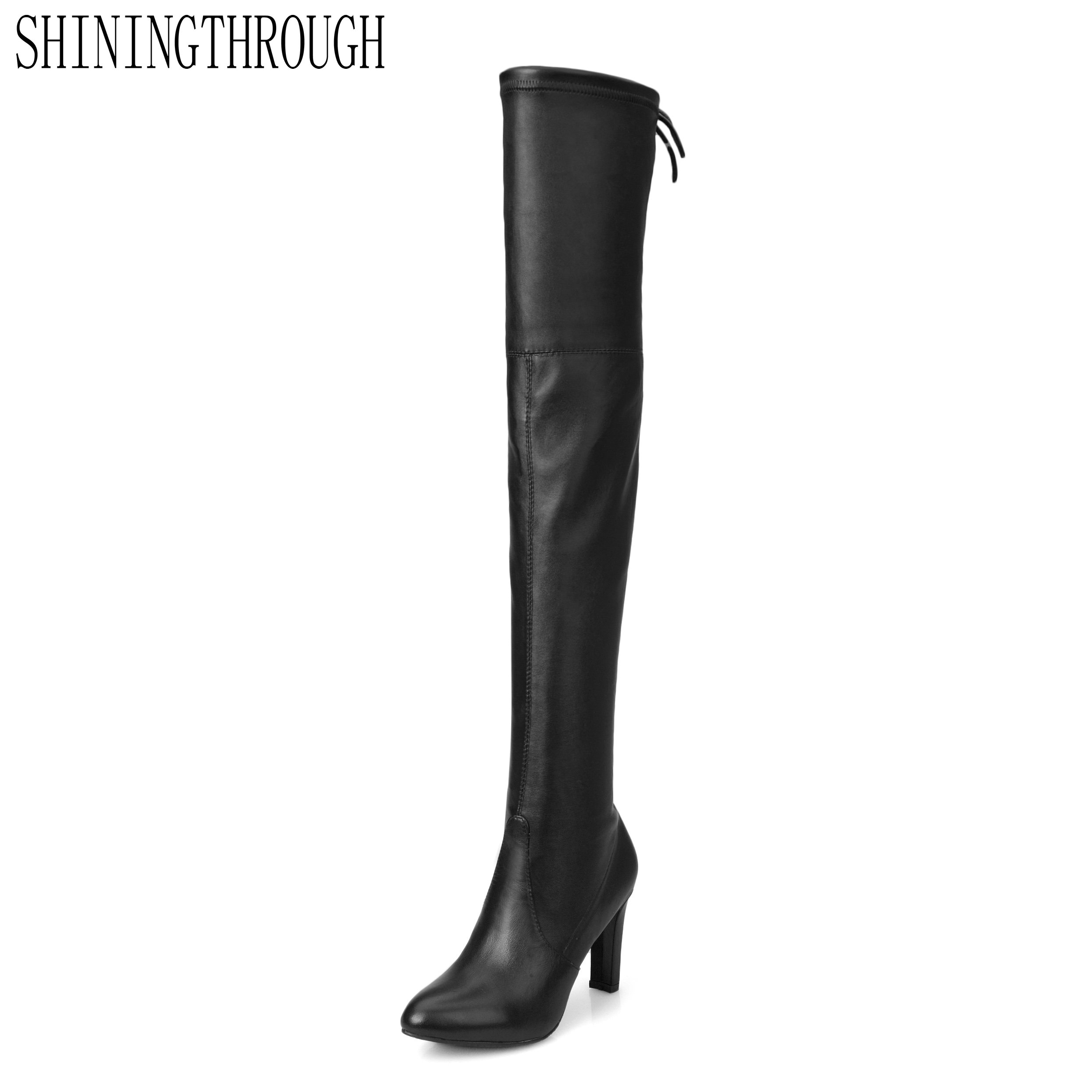 SHININGTHROUGH round toe high heel keep warm square high heel boots over the knee European leather thigh high boots
