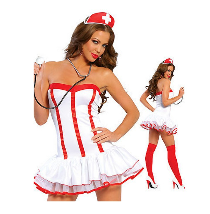 HOT!!New Lingerie Set for Women New Nurse Outfit Cosplay Halloween Play Role Uniforms Nurse Tempatation White Dress