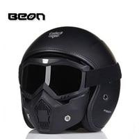 2017 New BEON fashion half face motorcycle helmet Military helmets locomotive Composite retro design four seasons made of FRP