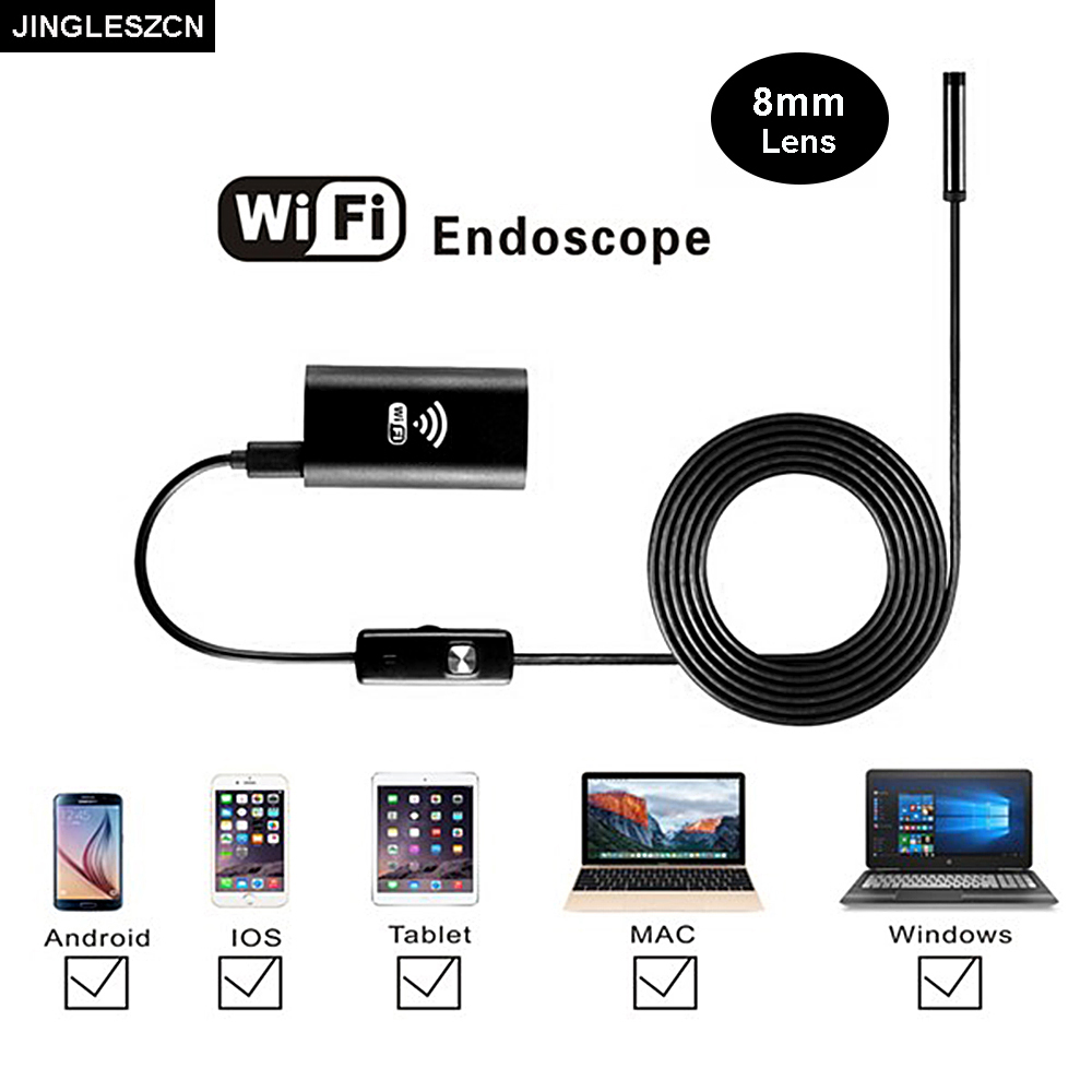 JINGLESZCN Wifi Endoscope Camera 8mm 3.5m Waterproof Inspection Borescope Cam Android USB Endoscope IOS Windows PC Snake Tube fghgf wifi endoscope 4 9mm lens ear nose medical usb endoscope borescope inspection otoscope camera for ios android pc