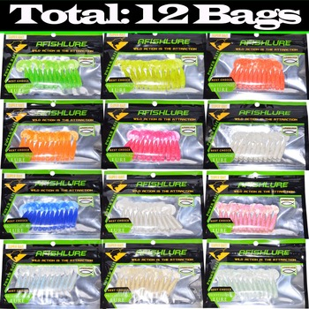144pcs Luminous Curled Tail Soft Worm Set Soft Maggots 45mm 1.2g Twisted Tail Fishing Lure All 12 Colors Lure Fishing