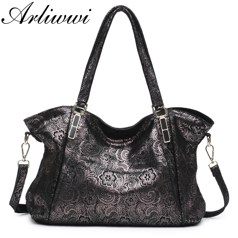 Arliwwi Brand New Fashion Sweet Lace Flower REAL LEATHER Shiny Women Big Shoulder Handbag Female Elegant