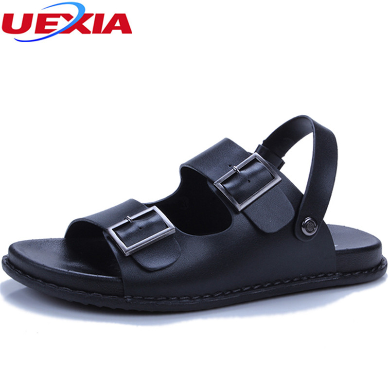 UEXIA Mens Shoes Pig Leather Men Sandals Summer Men Shoes Beach Breathable Buckle Gladiator Sandals For Men Zapatillas Hombre