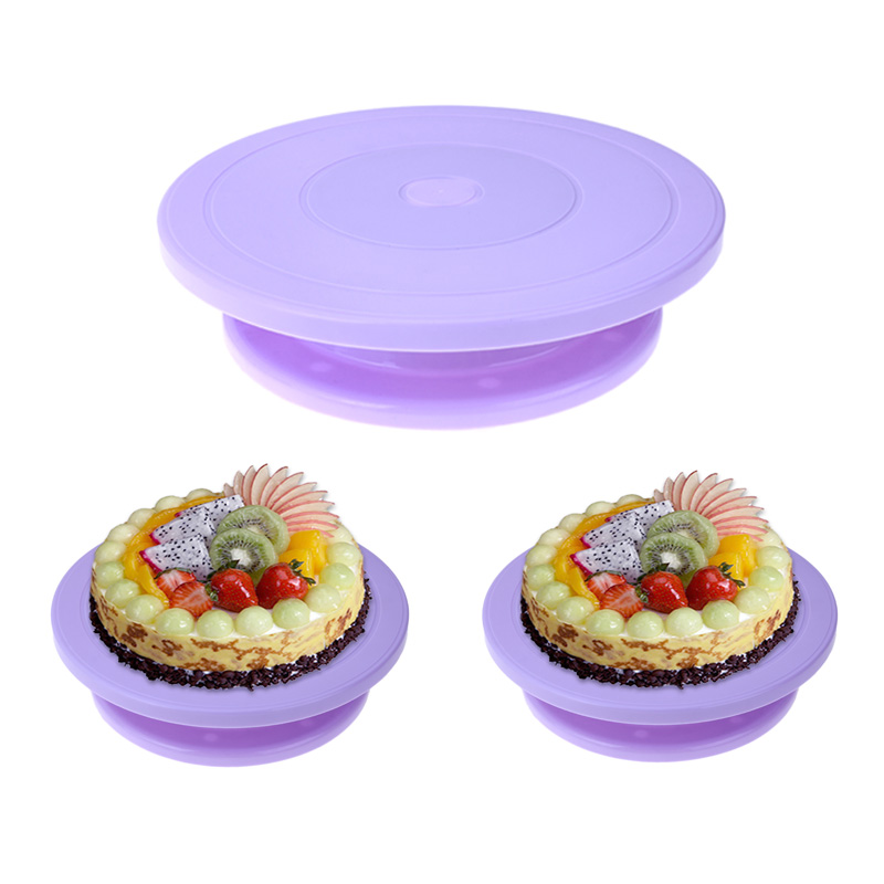 28cm Plastic Cake Turntable DIY Cake Plate Revolving Decoration Rotating Stand Platform Turntable Round Cake Stand Baking Tool ...