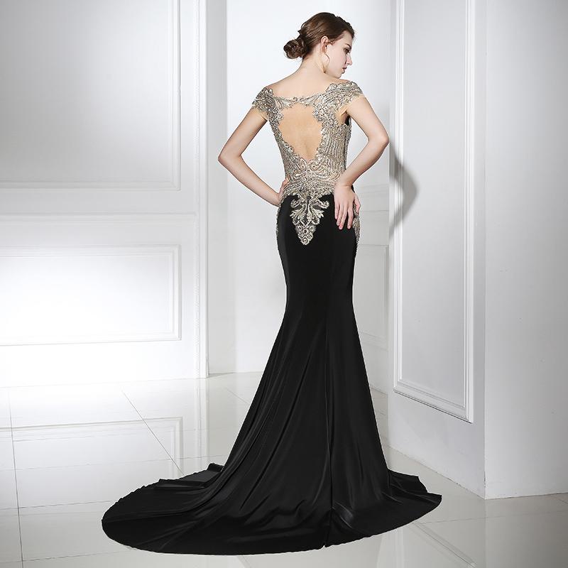Abiti Eleganti Fine 800.New Cheap Black Mermaid Evening Dresses With Golden Beaded