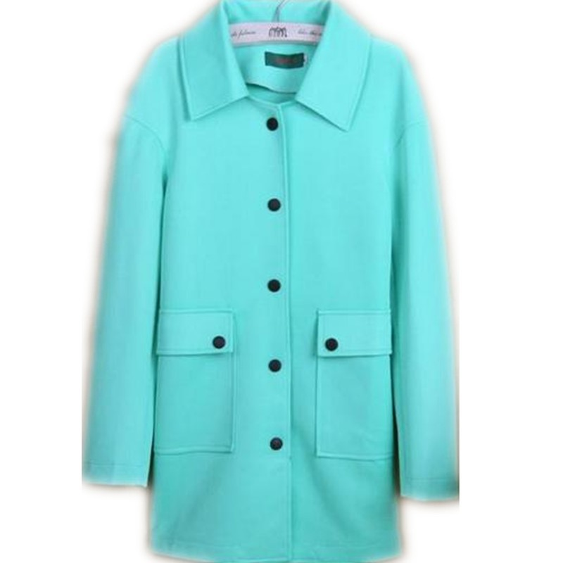 new arrival Autumn winter cotton   trench   women candy-colored loose buttoned turquoise coat