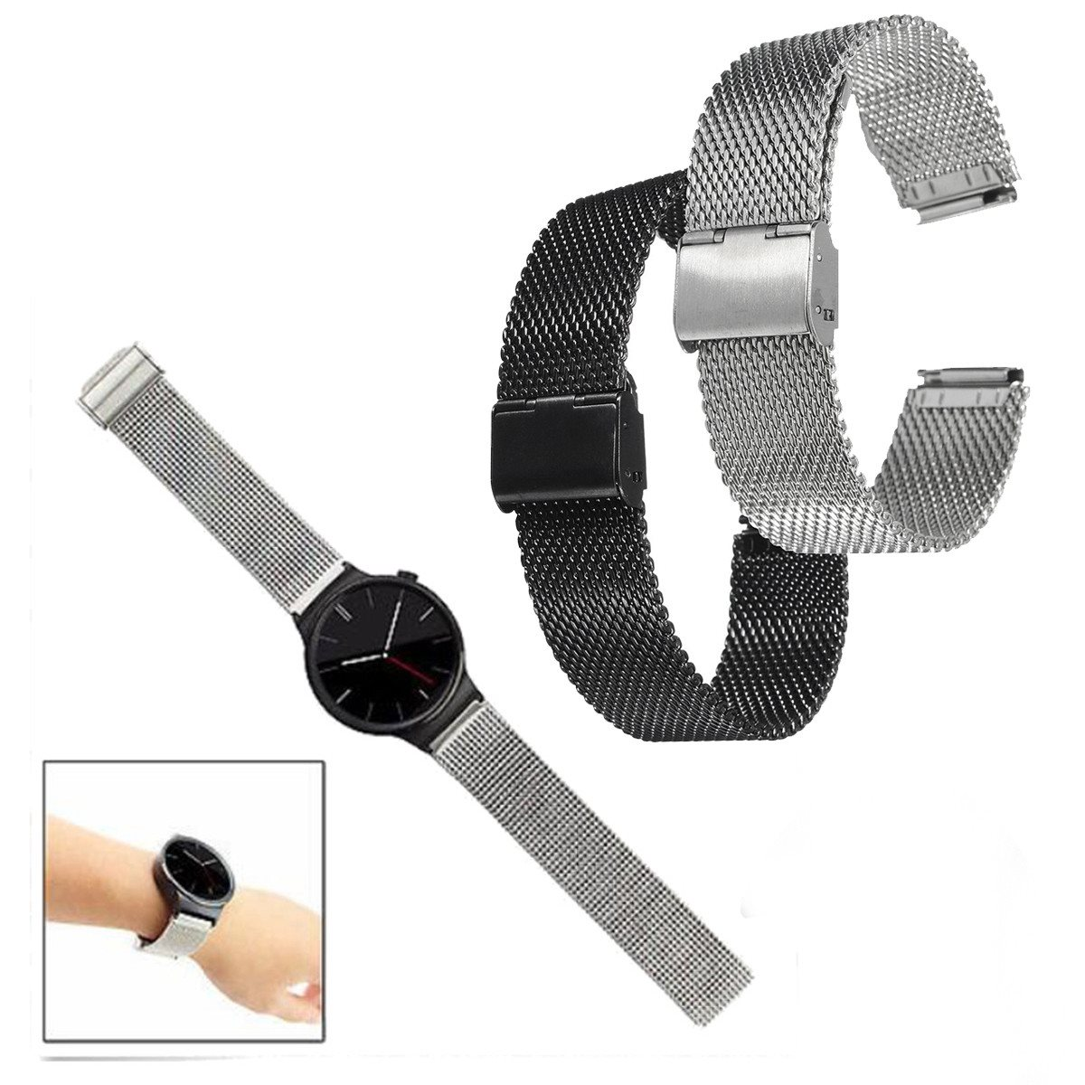 Milanese Mesh Loop Wrist Watch Bands 22mm Stainless Steel Watchband Strap Bracelet For Business Smart Watches Black Silver stylish 8 led blue light digit stainless steel bracelet wrist watch black 1 cr2016