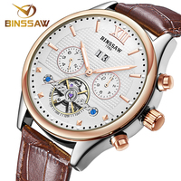 BINSSAW Waterproof Men S Watch Fashion Automatic Mechanical Men Watch Tourbillon Leather Luxury Brand Sport Watch