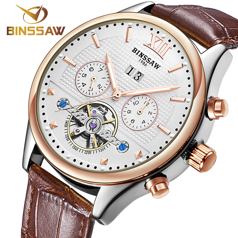 BINSSAW Waterproof Men's Watch Fashion Automatic Mechanical Men Watch Tourbillon Leather Luxury Brand Sport Watch Men Male Clock mce brand men self wind waterproof leather strap automatic mechanical male black white dial fashion tourbillon watch men clock